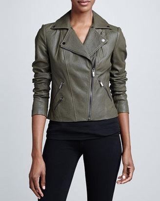 BCBGMAXAZRIA Textured Leather Moto Jacket