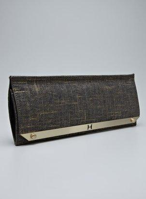 Halston Gold Fabric Slim Clutch