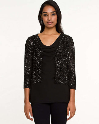 Le Château Sequin Knit Cropped Cardigan