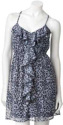 Eyelash ruffled leopard chiffon dress