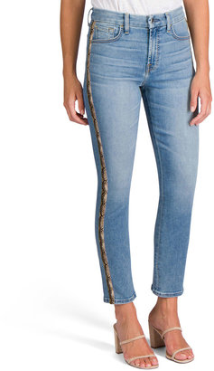 Jen7 Ankle Straight Jeans with Snake Side