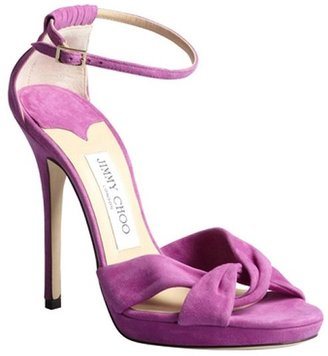 Jimmy Choo orchid suede twist front platform sandals