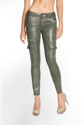 Camo Mid-Rise Cargo Skinny Jeans in Glitter Wash
