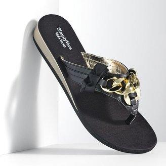 Vera Wang Simply vera chain wedge flip-flops