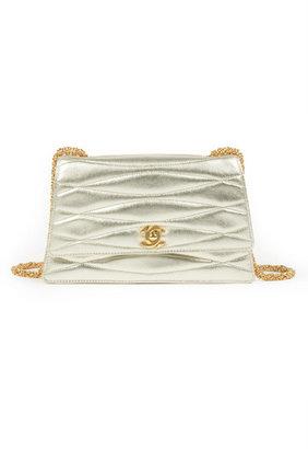 WGACA Vintage Chanel Gold Wave Mademoiselle Bag