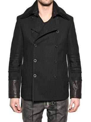 Tom Rebl Shearling, Wool Felt & Leather Pea Coat