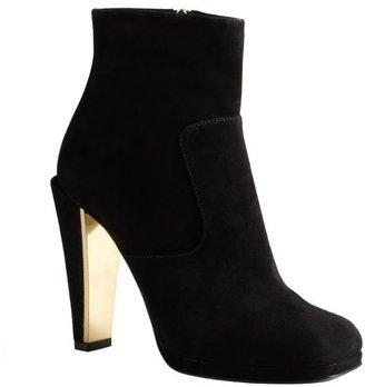 Fendi black suede goldtone detailed heel ankle boots