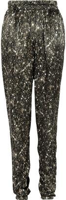 Lanvin Sequin-print silk tapered pants