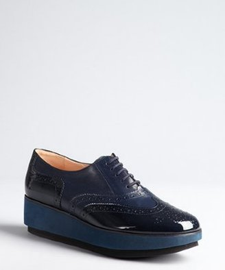 Robert Clergerie navy leather and patent wingtip 'Demilee' platform oxford