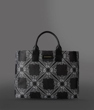 Emporio Armani Two-Handle Shopper In Fabric With Logo