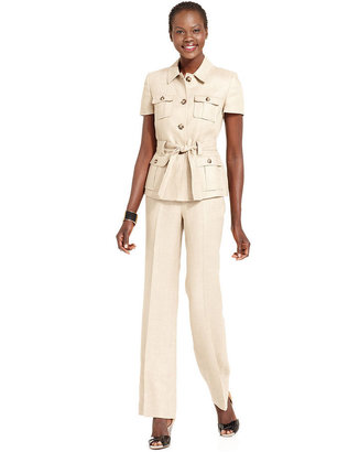 Anne Klein Suit, Short-Sleeve Safari Jacket & Pants