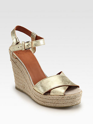 Marc by Marc Jacobs Metallic Leather Crisscross Espadrille Wedges