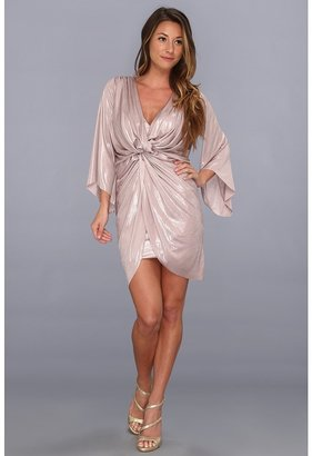 T-Bags Tbags Los Angeles - Bell Sleeve Twisted Front Tulip Skirt Mini Dress (Metallic Mocha) - Apparel
