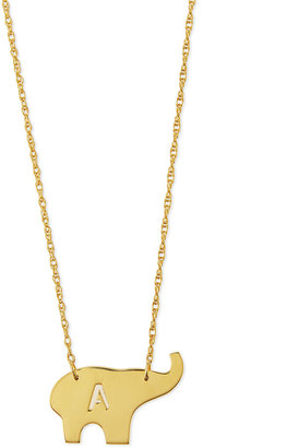 "Moon and Lola Nala Elephant Initial Pendant Necklace, 16""L"