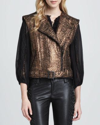 Alice + Olivia Metallic Asymmetric Tweed Vest