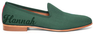 Edie Parker Del Toro X Bespoke Forest Green Canvas Loafer Green