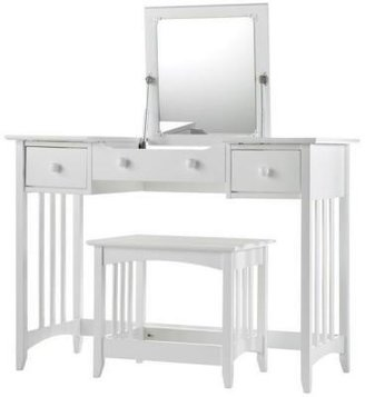Home Decorators Collection Hawthorne 44 in. W White Slatted Vanity with Mirror