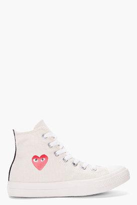 Comme des Garcons High-top Cream Canvas Converse Sneakers