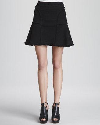 Rebecca Taylor Tweed A-Line Flounce Skirt