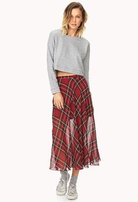 Forever 21 Tartan Plaid Slit Maxi Skirt
