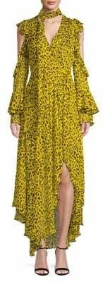 Diane von Furstenberg Ruffle-Sleeve High-Low Silk Maxi Dress