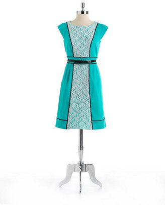 Chetta B Cap Sleeved Belted Lace Dress