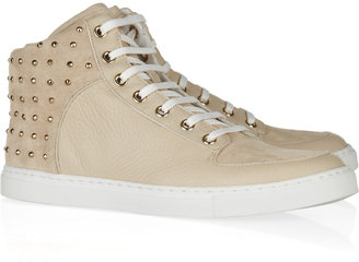 Mulberry Studded suede and textured-leather sneakers