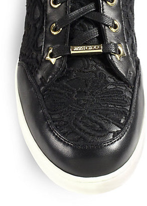 Jimmy Choo Tokyo Lace & Leather High-Top Sneakers