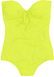 J.Crew Neon tie-front bandeau one-piece swimsuit