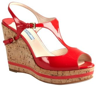 Prada red patent leather and cork peep toe wedges
