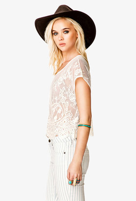 Forever 21 Sheer Boxy Lace Top