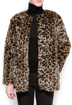 MANGO Animal print faux fur coat