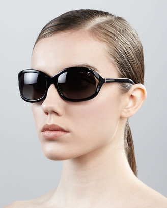 Tom Ford Vivienne Rounded Sunglasses, Shiny Black