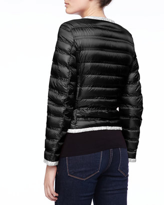 Moncler Contrast-Trim Zip Puffer Jacket, Black/White