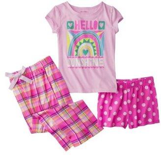 Xhilaration Girls' 3-Piece Short-Sleeve Pajama Set