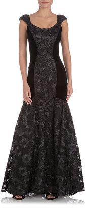 Theia Flared Contour-Panel Gown, Black