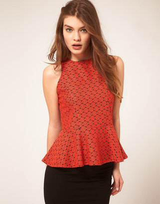 Asos Peplum Top In Floral Lace