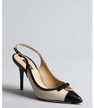 Dolce & Gabbana nude and black canvas pointed toe slingbacks