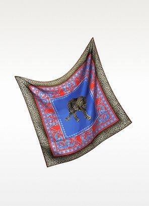 Versace Ornamental Animal Print Silk Square Scarf