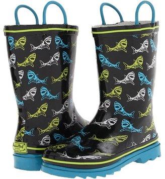 Western Chief Shark Sign Rainboot (Toddler/Little Kid) (Black) - Footwear