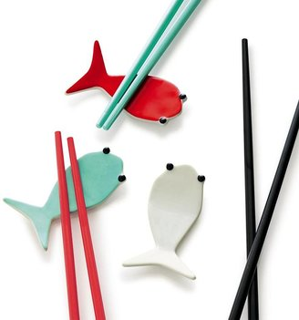 Crate & Barrel Fish Aqua Chopstick Rest