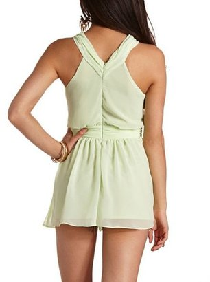 Charlotte Russe Cut-Out Ruched Chiffon Romper