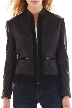 Excelled Leather Excelled Lamb Scuba Jacket with Sueded Trim $525 thestylecure.com