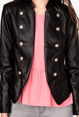 Forever 21 Faux Leather Military Jacket