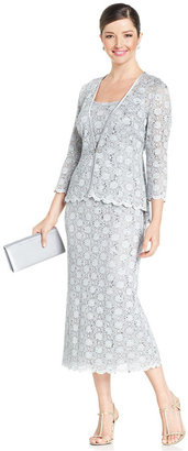 R&M Richards Sleeveless Sequined Lace Dress and Jacket $129 thestylecure.com