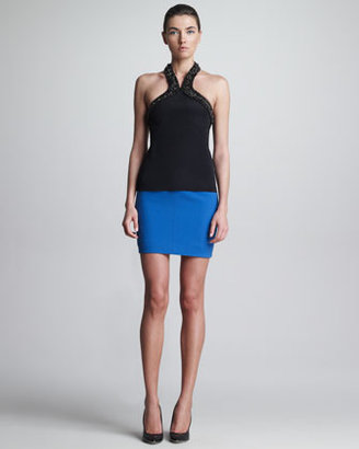 Jason Wu Double-Faced Wool Miniskirt, Blue