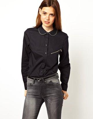 Asos Shirt with Peter Pan Collar and Zip Trim Detail