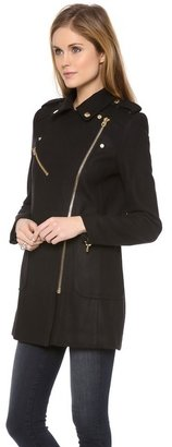 Juicy Couture Wool Melton Moto Coat