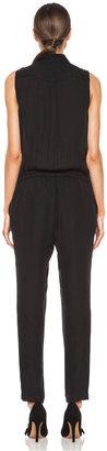 Haute Hippie Button Down Muscle Silk Jumpsuit in Black