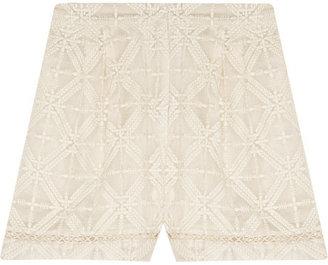 Zimmermann Haze embroidered silk-georgette shorts